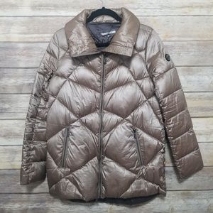 Bernardo Gold Quilted Puffer Stand Collar Coat M